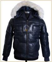 Pilot 6 Lockheed Puffer Blue Men's New Bomber Fur Hooded Lambskin Leather Jacket