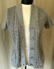 Belk's Gray Chunky Knit Short Sleeved Cardigan Sweater, Size Small
