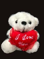 "Cute Soft White Teddy Bear Holding ""I Love You"" Heart - 6"" tall - FREE SHIPPING"