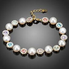 New 18K Gold GP Made With Swarovski Crystal Elements Flower Bead Bangle Bracelet