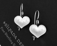 ❤️ Silpada Sterling Silver Didae Hammered Heart Earrings HTF W0513 RARE  ❤️