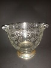Sterling Silver Base Nut Snack Dish Etched Glass Floral Design Serving Bowl