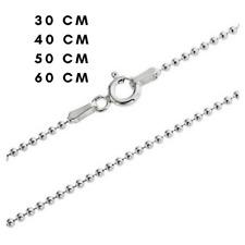 Chaînes de Collier Perles Boules en Argent Massif Sterling 925 30 40 50 60 70 cm