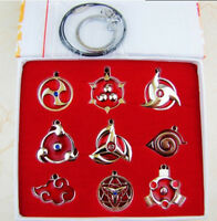 Naruto Sharingan Konoha Necklace Pendant Keychain Keyring 9pcs Set Cosplay Prop