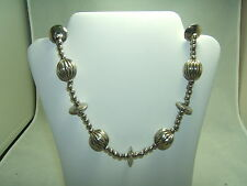 Vintage Silver Beaded  Necklace  22 Inches Long (BEAUTIFUL)