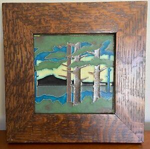 Arts and Crafts/Craftsman oak framed original Motawi Tile