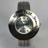 Chico's 3255 Womens Bangle Metal Bezel Silver Quartz Analog Watch