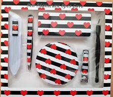 6 Piece Nail Manicure Set Love Hearts Mirror Files Tweezers Cuticle Gift Xmas