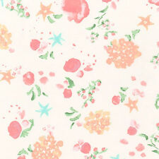 """ROBERT KAUFMAN """"WOODLAND CLEARING"""" FLORAL Ivory LAWN by yard"""