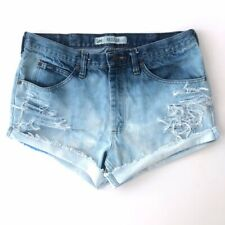 Vintage Lee Womens Cutoff Destroyed Bleached Jean Shorts High Waist Size 34 A011