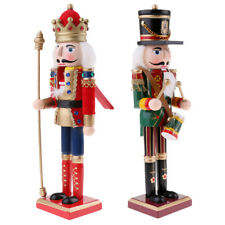 30cm Classic Wood Nutcracker Soldier Drummer Figure Model Xmas Decorative 2x