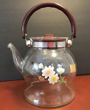 Kjf Direct Heating Clear Glass Teapot Floral Design ~ Daisies Flowers