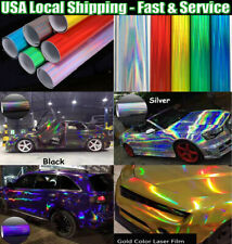Glossy Laser Chrome Holographic Vinyl Film Wrap Decal For Hood Roof Motorcycle