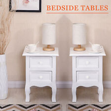 Bedside Tables Set of 2 Wooden Cabinets Nightstand with Drawers Storage White
