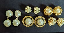 Lot of 5 Retro Pairs Clip-on Earrings Pearl /Gold/Enamel Mixed Designs Vintage