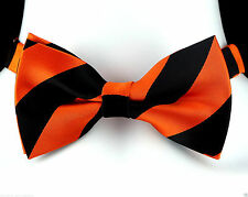 Orange & Black Striped Mens Bow Tie Adjustable Halloween Frat Tuxedo Gift New
