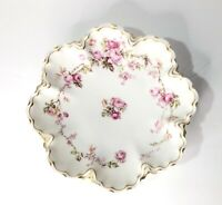 Haviland & Co. Limoges Floral Hand Painted Dish Pink Roses Gilded Gold Edges