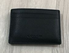 Coach Men Money Clip Card Case Calf Leather Black