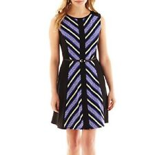 Luxology-  Belted Fit-and-Flare Dress , Petite-Size:8P, Cobalt-combo