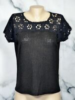 JESSICA SIMPSON Black Knit Top Medium Pearl Studded Eyelet Shoulders and Sleeve