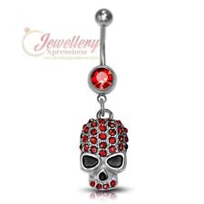 G-1.6mm | Stainless Steel Skull Charm Dangling Belly Button Navel Ring