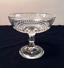 """Glass Pedestal Compote Fruit Bowl 8""""W 7""""T Diamond Point Antique Heisey Era"""
