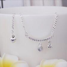 Star Anklet Adjustable Free Gift Bag Sterling Silver 925 Crystal Bar Hanging
