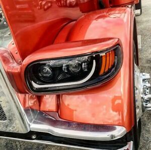 peterbilt 389 blackout dot approved led headlights drivers n passenger side trux