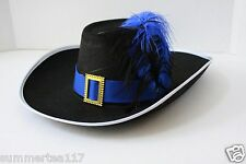 Halloween Party Puss in Boots Hat Adults and Kids Black / Blue Feather G0433