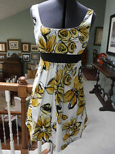 A. BYER YELLOW WHITE/ BLACK ABSTRACT FLORAL SUNDRESS DRESS SIZE 5 EXCELLENT