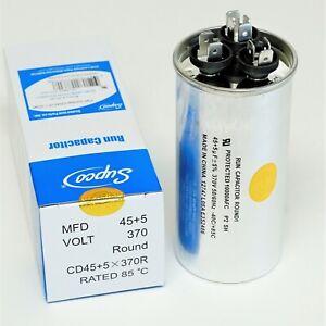 Air Conditioning HVAC Round Dual Motor Run Capacitor 45 + 5 MFD 370 Volt