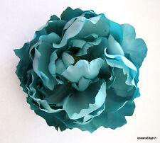 "Full 5"" Aqua Turquoise Peony Silk Flower Brooch Pin,Rockabilly,Corsage"