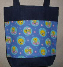 NEW Large Denim Tote Bag Handmade/w Blue Background Tweety Bird Fabric