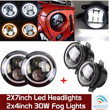 7INCH 40W LED Halo Headlight + 4INCH 30W Fog Light for Jeep Wrangler JK LJ CJ