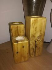 Handmade VERY natural wood rustic set of 3 wooden blocks holds tea light candles