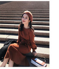 Autumn Shift Belt Winter Cocktail Knit Sweater Dress A-line Women Korean Evening