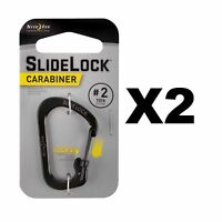 Nite Ize SlideLock Carabiner #2 Black Stainless Steel Locking Biner 10lb(2-Pack)
