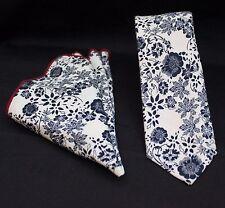 Men's Tie & Handkerchief Set Slim Off White / Blue Floral Quality Cotton MTA02
