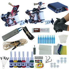 Pro Tattoo Machine Rotary Kit Shader Liner Supply Guns Set 2 Power Ink Complete