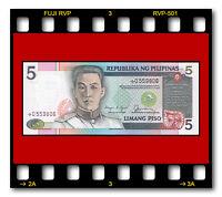 PHILIPPINES P-168c UNC REPLACEMENT STAR 5 PISO Aquino & Fernandez 1990 SIGN. 11