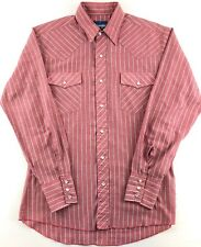 Vintage Wrangler Shirt Men's Size M Western Pearl Snap Button L/S Red Striped