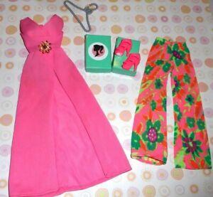 Vintage BARBIE * EVENING IN #3406 HOSTESS DRESS FLOWER PANTS + PINK MODERN SHOES
