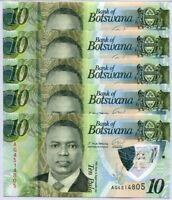 Botswana 10 Pula 2020 / 2021 P New Polymer UNC lot 5 Pcs