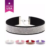 Choker Necklace Color Faux Suede Rhinestone Crystals Neck Belt Women Party Stage