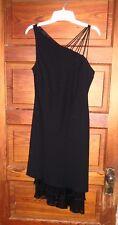 Jones Wear Dress One Shoulder Size 8 Polyester with Silk Ruffle Trim Black