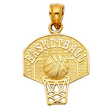 Real 14K Yellow Gold Basketball with Hoop Net Ring Charm Pendant Unisex