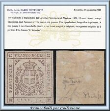 ASI 1859 Modena Governo Provvisorio cent 15 bruno n. 13 Certific. Antichi Stati