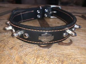 Harley-Davidson Black Leather Spike Dog Collar with Orange Stitching H1708KBK118