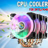 CPU Cooler 4 Heatpipe 3x LED RGB Fans Silent for LGA 775/1155/1156/1150/1366 AMD