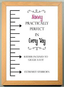 """Personalised Gift """"PRACTICALLY PERFECT"""" Named Print Sold in a LIGHT WOOD FRAME"""